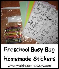 Homemade Stickers ~ Preschool Activity Bag | Walking by the Way