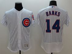 2e9531492 Cubs  14 Ernie Banks White Flexbase Authentic Collection Stitched MLB  Jersey Cheap Nba Jerseys