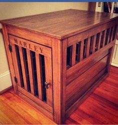 Dog crate end table made from scratch with link to plans. Credit to AnaWhite. Http://ana-white/2010/10/large-wood-pet-kennel-end-table
