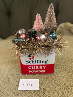 Excited to share this item from my shop: Vintage Christmas Spice Tin, Vintage tinsel, mercury glass, bottlebrush tree Cowboy Christmas, Cottage Christmas, Primitive Christmas, Christmas Holidays, Christmas Bulbs, Primitive Fall, Primitive Snowmen, Primitive Crafts, Country Christmas