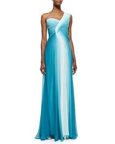 One-Shoulder Draped Ombre Gown, Teal/White by Monique Lhuillier at Neiman Marcus.