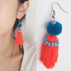 Squirrel pom Pom and tassel colorful earrings Thread Jewellery, Tassel Jewelry, Textile Jewelry, Fabric Jewelry, Beaded Jewelry, Jewelery, Tassel Earrings, Beaded Earrings, Earrings Handmade