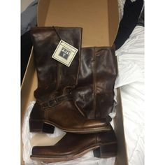 Frye Tall Boots Tall brown Frye boots. Never worn. NWT. Size 11. Frye Shoes Combat & Moto Boots