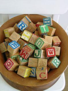 Vintage Wood Blocks Children Nursery Decor Letters Alphabet.