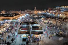 Nicola Young used a slow shutter speed to capture the chaos of a night market at 9pm in Morocco...