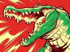 Animal Drawings, Art Drawings, Graphic Design Illustration, Illustration Art, Crocodile Illustration, Monster Art, Drawing Sketches, Art Inspo, Vector Art