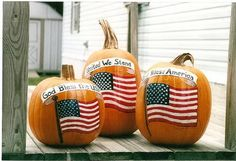 """Painted pumpkins - HOME SWEET HOME - This is a """"commissioned"""" project I did a few years ago. A woman asked me to paint American flags on some pumpkins, and they turned out prett Blue Crafts, Diy Arts And Crafts, Crafts For Kids, Paper Crafts, Gourd Crafts, Children Crafts, Halloween Images, Fall Halloween, Halloween Crafts"""