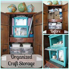 Craft Organizer - check out the genius way to organize your craft supplies so you can actually get to them when stacked!  eclecticallyvintage.com