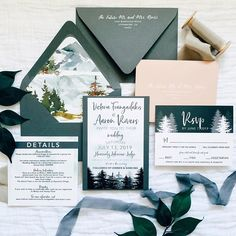 Lake Tahoe inspired wedding invitation suite Forest Wedding Invitations, Wedding Invitation Suite, Lake Tahoe Weddings, Paper Companies, Logs, Wedding Suits, Custom Design, Wedding Inspiration, Rustic