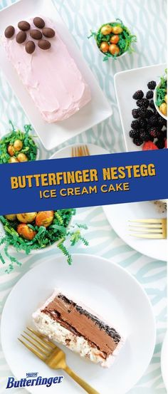 Make a sweet spring treat for the entire family this Easter with this delicious recipe for a Butterfinger NestEgg Ice Cream Cake. This decadent dessert has layers of vanilla ice cream mixed with the crispety, crunchety, peanut-buttery taste of Butterfinger, hot fudge and chocolate ice cream. You're sure to enjoy every bite!