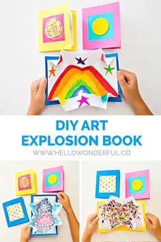 What a fun way DIY paper craft to show off kids art! Crafts For Kids To Make, Diy Crafts For Kids, Fun Crafts, Up Book, Book Art, Diy Paper, Paper Crafts, Easy Craft Projects, Art Projects