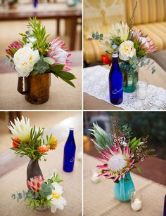 Exotic floral centerpieces in colored recycled bottles, eco, rustic wedding.Proteas etc. Floral Wedding, Rustic Wedding, Wedding Flowers, Rustic Flowers, Simple Flowers, Wedding Arrangements, Floral Arrangements, Table Arrangements, Wine Bottle Candles