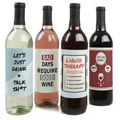 Liquid Therapy  Rough Day Wine Bottle Labels  by BigDotOfHappiness