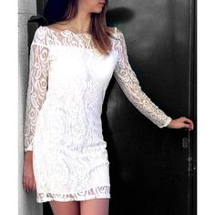 Charming Off-The-Shoulder Long Sleeve White Bodycon Crochet Lace Dress For Women
