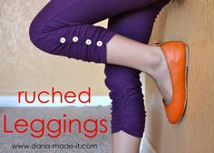 DIY Clothes Refashion: DIY Ruched Leggings (for girls and women)