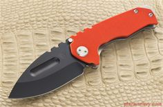 Medford Genesis-G, Black PVD Drop Point with Orange G10 and Tumbled Titanium…
