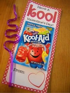 Love this as a Valentine! Kool-Aid packet & crazy straw. Could attach to a bottle of water with personalized label and an individual drink packet