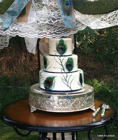 Hand Painted Peacock Themed Wedding Cake