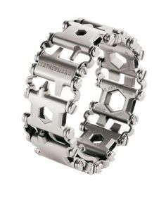"Stylish and functional, Leatherman's Tread Stainless Steel Bracelet offers the versatility of a Leatherman Tool everywhere you go. Each 17-4 stainless steel link is equipped with a tool, so you'll always have Allen wrenches, screwdrivers and box wrenches whenever you need them. 1/4"" adjustments to fit any wrist."