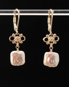 LOVE and FRIENDSHIP fancy pearl earrings (Square Peach Pink Pillow Pearls, Vermeil Filigree, 14K Gold Filled lever backs)