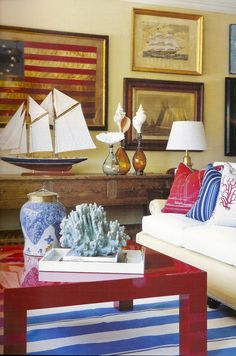 ciao! newport beach: red, white & blue by barclay butera Coastal Decor. Beach House, cottage decorating, coastal living by the sea décor, Nautical, coastal feel.  I can hear the relaxing, refreshing sound of the ocean ... listen..