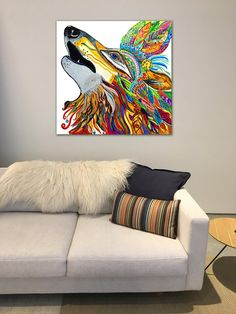 Wolf Canvas Painting Stretched Canvas Print, Native American Art, Bohemian Home Decor, Abstract Bohemian Decor