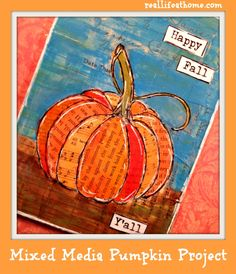 Mixed Media Pumpkin Project {featuring easy to follow step-by-step directions} - A perfect fall project for adults and kids!