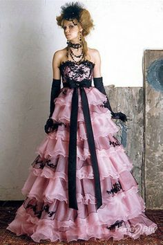 Gorgeous pink and black fashion ballgown, with a vintage masquerade feel to it.