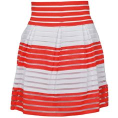 Forever Lily Red & White Stripe Ribbed A-Line Skirt ($15) ❤ liked on Polyvore featuring skirts, striped skirt, stripe long skirt, long red skirt, stripe skirt and red striped skirt