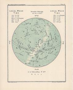 1910 november and/or december antique star map original celestial print