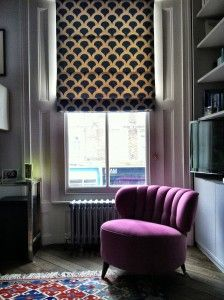 Korla Blinds in Indigo Kyoto Koi with Purple cocktail chair Living Room Inspiration, Interior Design Inspiration, Just Blinds, Front Rooms, Cushion Fabric, Cool Chairs, Home Decor Fabric, Soft Furnishings, Accent Decor