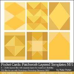Pocket Cards: Patchwork Layered Templates No. 01 - Digital Scrapbooking