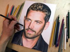 Colored pencil drawing of Paul Walker-- amazing talent, so realistic!!
