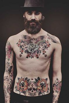 Tatouage torse blason chest tattoo pinterest - Tattoo torse homme ...