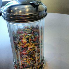 sugar dispenser as sprinkle shaker.