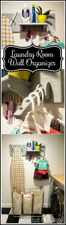DIY Organization for the Laundry Room... holds iron, ironing board, unmatched socks, and hangers! {Sawdust & Embryos}.JPG