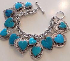 Vintage Joan Slifka Reversible Heart Southwest 3D Turquoise 12 Charm Bracelet #JoanSlifka