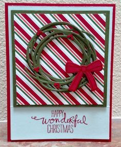 Striped Wreath by donnaks - Cards and Paper Crafts at Splitcoaststampers