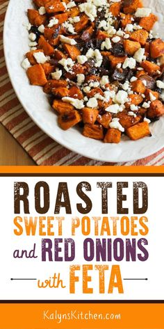 Roasted Sweet Potatoes and Red Onions with Feta are a delicious side dish for a holiday meal or make this as a delicious meatless main dish if you prefer found on Recipe For Onion Pie, Red Onion Recipes, Kitchen Recipes, Cooking Recipes, Gluten Free Recipes, Vegetarian Recipes, Healthy Holiday Recipes, Healthy Menu, Roasted Sweet Potatoes