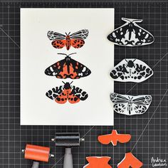 Andrea Lauren (@inkprintrepeat) | Lots of fun to make these two color tiger moths this morning! | Intagme - The Best Instagram Widget