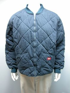 Dickies Mens Diamond Quilted Mens Faded Navy Jacket Sz XXL Polyester/Cotton #Dickies #BasicJacket