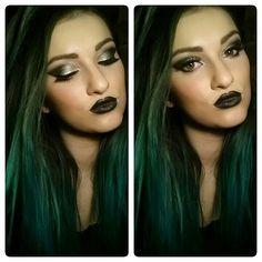 Green hair and metallic make up