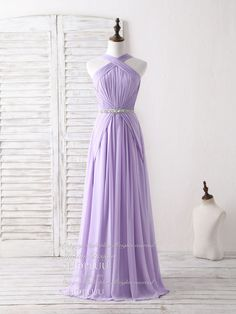 Purple chiffon long prom dress purple bridesmaid dress