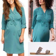 Green Roll Sleeve Maternity Shirt Dress Size 8 10 12 14 16 8000 Spiral Encrusted