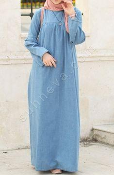 Suhneva - Robalı Kot Elbise - Mavi