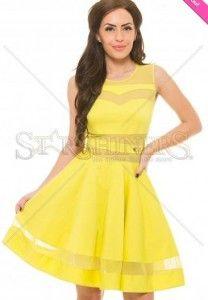 Rochii-de-Ocazie-Ieftine-Galbene -Rochie-Pretty-scurta-Galbena Women's Fashion, Disney Princess, Dresses, Vestidos, Fashion Women, Womens Fashion, Dress, Woman Fashion