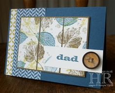 handmade Father's Day card ... blues with a bit of brown ... panel of French Foliage divided into three as main focus ... good design for patterned papers ... Stampin' Up!