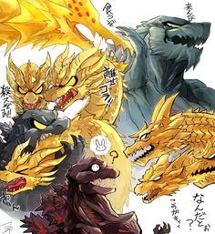 All Godzilla Monsters, Godzilla Comics, Cool Monsters, Monster Art, Monster Hunter, Godzilla Vs King Ghidorah, Dragon Rey, Godzilla Franchise, Dinosaur Art