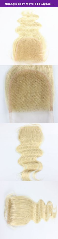 """Mxangel Body Wave 613 Lightest Blond Brazilian Human Hair Closure 44 18"""". Product details: Hair Material: 100% Peruvian human remy hair Texture: body wave, perm or curl is okay, can be restyled according your need! Lace size: swiss lace 4*4 8""""~20"""" available Weight: 30g~40g/pc Color: 613 light blond Quality: no tangle, no shedding, no chemical additive, 7A human remy hair Service: excellent customer service to provide timely help for your order."""