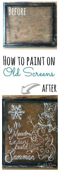 Let me show you this super simple way to draw our a design (and change your mind) without ruining your piece. Painting on screens is easy take a look Painted Window Screens, Old Window Screens, Painting On Screens, Window Screen Crafts, Window Art, Window Ideas, Window Frames, Window Signs, Wood Frames